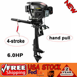 6hp 4 Stroke Outboard Motor Fishing Boat Engine Air Cooling Marine Gasoline Hand