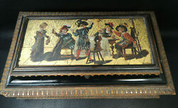 Antique Poker Black Forest Wood Hand Painted Gilded Box Secret Compartment