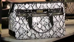 Samantha Brown Embossed Wire Frame Satchel In White And Black Phyton Nwt