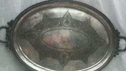 Amazing Antique Rogers And Smith Co.new Haven Large Silverplate Tray 31 1/2 Inches