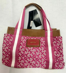 Tommy Hilfiger Logo Print Faux Leather Pink amp; White Small Tote NWTs $17.50