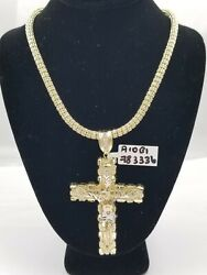 10k Gold Jesus Cross Charm 26 Iced Chain Bead Necklace Diamond Cut Nugget Real