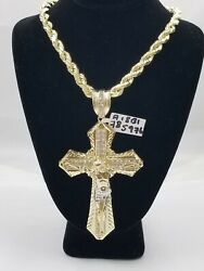 Mens 10k Real Yellow Gold Rope Chain With Crucifix Cross Charm Jesus Diamond Cut
