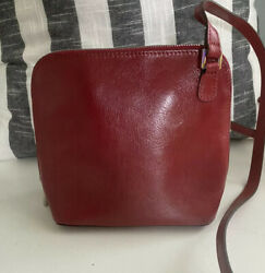 HOBO INTERNATIONAL Small Red Leather Dome Crossbody Bag $39.99
