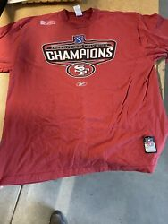 Vintage 2002 Nfc West Division Champions Sf 49ers Red T-shirt Size 2xl Reebok