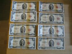 Lot Of 9 X 1953 Two Dollar Note Red Seal 2 Bill Us Currency
