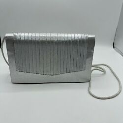 Sasha New York Silver Evening Bag Shimmer Cord Strap Snap $10.00