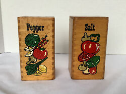 Vintage Wooden Salt And Pepper Shakers With Vegetable Print Large