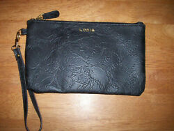 LODIS Black Floral Embossed Wristlet Wallet Clutch $12.99