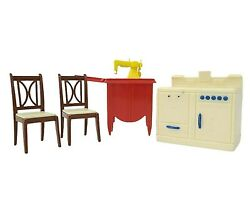 Reliable Doll House Furniture Red Sewing Machine Chairs Stove Vintage 4 Pieces