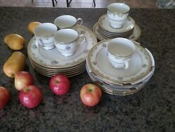 18k Gold Mikasa Fine Dining Dish Set Dinner,luncheon,salad/soup,saucer,bread,cup