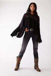 Free People On The Weekend Blouse in Black NWT Size Small Women#x27;s Flared Sleeve $59.00