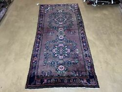 3and039 3 X 6and039 10 Antique Handmade Wool Rug Pink Purple Runner Floral Organic Dyes