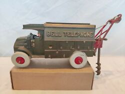 Vintage Hubley Cast Iron Bell Telephone Truck And Accessories Toy