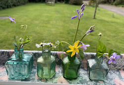 Antique Victorian Green Teal And Aqua Glass Ink Bottles Different Shapes