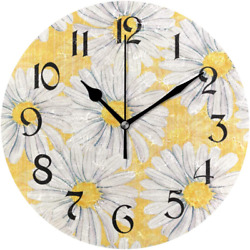 Daisies Flowers Wall Clocks Battery Operated Silent Non Ticking Modern Round