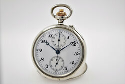 Heuer Rare Pocket Watch Chronograph 990a 19 800 Silver Excellent So751