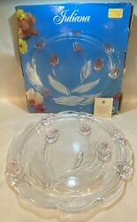 """Walther Glass Mikasa Juliana Crystal Footed Cake Plate Frosted Pink Tulips 14"""""""