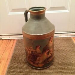 Vintage Mid City Chicago Dairy Cream Can Enameled Painted 4 Quails Birds Scene