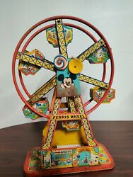 1950s J Chein And Co Mickey Mouse Disney Ferris Wheel Tin Lithograph As Is Broken