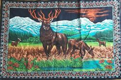 Vintage Tapestry Cotton Wall Hanging 57x38 Made Turkey Elk Buck Deer Mountains