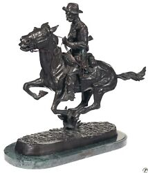 Frederic Remington Bronze Statue Trooper Of The Plains With Marble Base