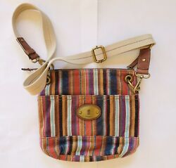 Fossil Long Live Vintage Multi Color Striped amp; Leather Crossbody Purse $29.99