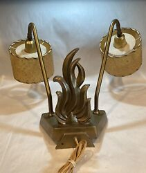Art Deco Bronze Two Arm Flame Bed Headboard Lamp With Fiberglass Shades