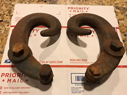 Vintage 55-59 60-66 67-72 Chevy Gmc Truck Large Tow Hooks And Original Bolts