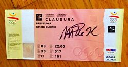 1992 Olympic Unused Closing Ceremony Ticket signed By Magic Johnson Psa/dna