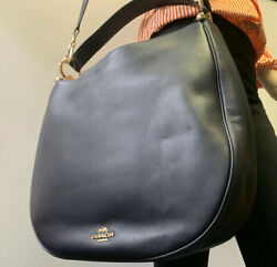 Coach 36026 Nomad Hobo In Glovetan Leather Navy Blue Ladies Bag NWT Authentic $209.95