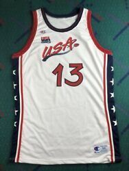 Shaquille Oand039neal Champion Pro Cut Jersey 96 Olympics Dream Team Autographed Shaq