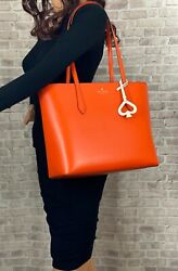 KATE SPADE NEW YORK BREANNA LEATHER TOTE SHOULDER BAG PURSE $329 Coral $105.99