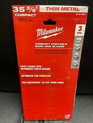 New Milwaukee 35-3/8 18 Tpi Compact Portable Band Saw Blades 3 Pack 48-39-0529