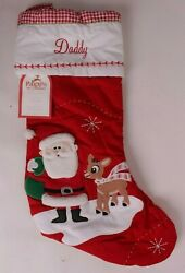 Pottery Barn Kids Classic Quilted Stocking Christmas Rudolph And Santa Says Daddy