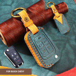 Retro Leather 5 Buttons Key Case Cover Chain Shell For Chevrolet Chevy Gmc Buick