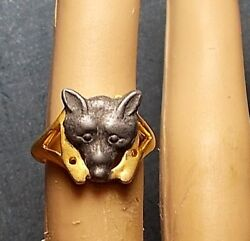 1920 Fox Cracker Jack Ring Quirky Gift Pewter Foxy Lady, Man Fox, Cub Scout Ooak