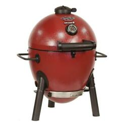 Char-griller Charcoal Grill Red Cast Iron Dual Dampers Heat Gauge Ash Catcher