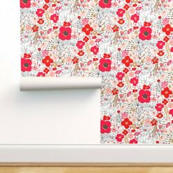 Removable Water-activated Wallpaper Poppyplay Large Floral Poppies Wildflowers