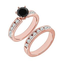 1.25 Carat Real Black Diamond Solitaire Channel Wedding Ring Band 14k Rose Gold