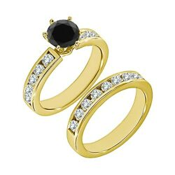 1.25 Ct Real Black Diamond Solitaire Channel Wedding Ring Band 14k Yellow Gold