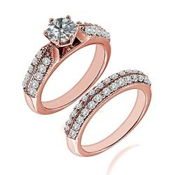 0.75 Carat Real White Diamond Double Row Filigree Fine Ring Band 14k Rose Gold