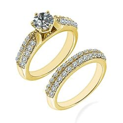 0.75 Carat Real White Diamond Double Row Filigree Fine Ring Band 14k Yellow Gold