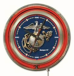 United States Marines Clock W/ Double Neon Ring