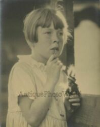 Thoughtful Girl With Freckles And Indian Doll Toy Antique Art Photo By J. Pardoe