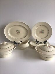 Vintage New Hall Hanley Cream 6 Persons Dinner Serving Set 10 Pieces