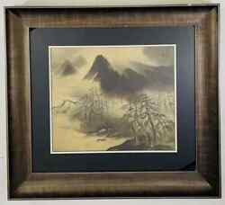 An Antique Sumi Ink Japanese Painting On Silk, Framed