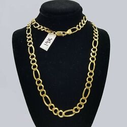 Solid 14kt Figaro Link Chain Yellow Gold Necklace Real Heavy 7mm 20 22 24 26