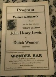John Henry Lewis V Dutch Weimer Ii-lhw-1936-boxing Program-see My Other Boxing