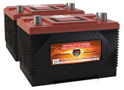 Qty2 Vmax Xca27-1000 1000mca Agm Group 27/34 Gas Powered Engine Marine Batteries